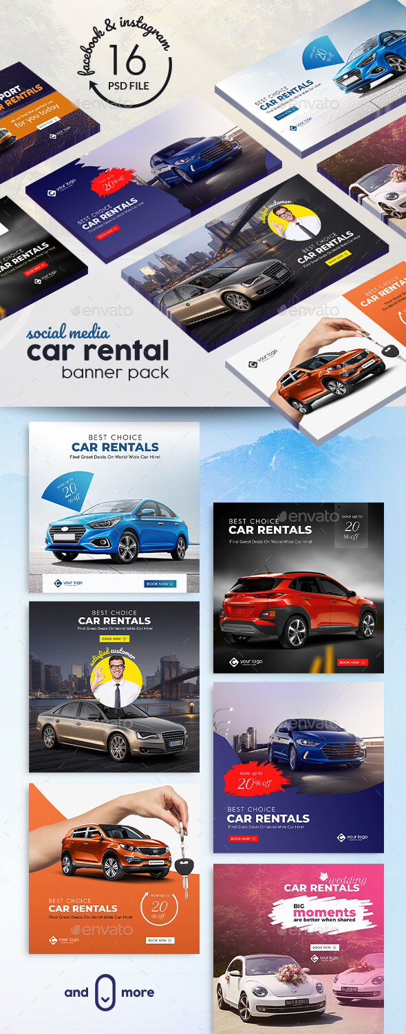 Car Rental Banner Pack - Banners & Ads Web Elements