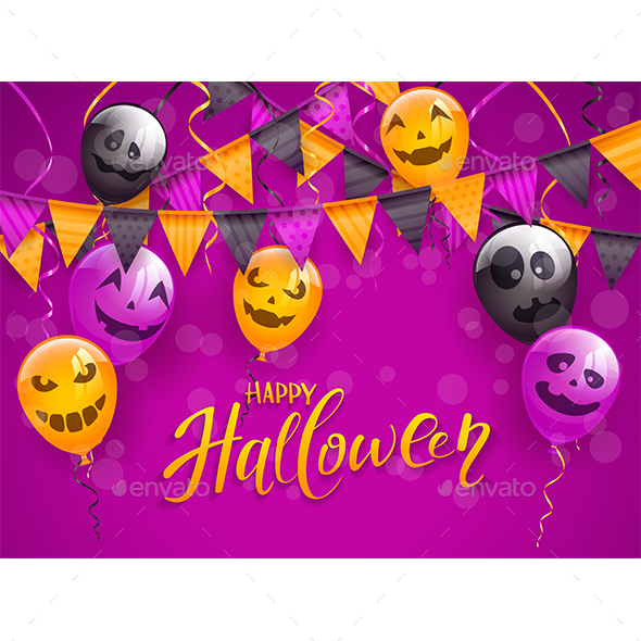 Happy Halloween with Scary Balloons and Pennants - Halloween Seasons/Holidays