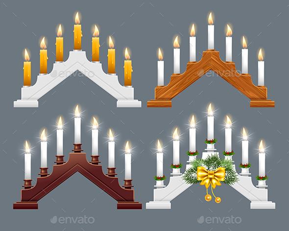 Christmas Candle Bridge Set - Christmas Seasons/Holidays