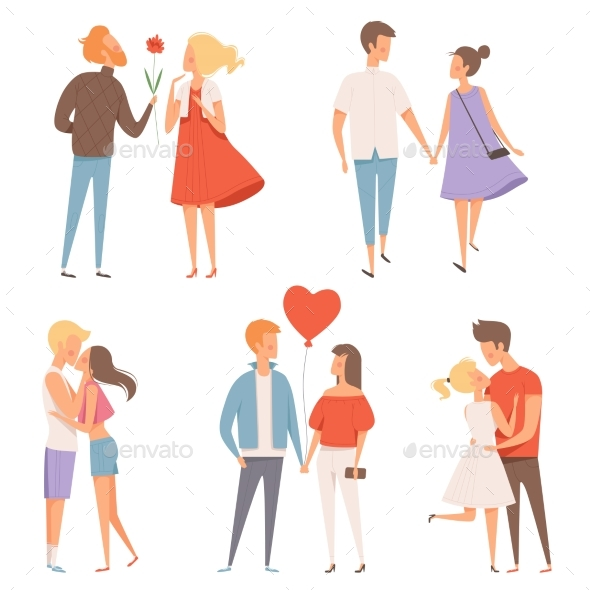 Dating Couples. St Valentine Day 14 February - People Characters