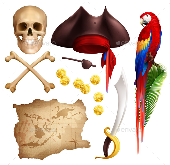 Pirate Realistic Icons Set - Miscellaneous Vectors