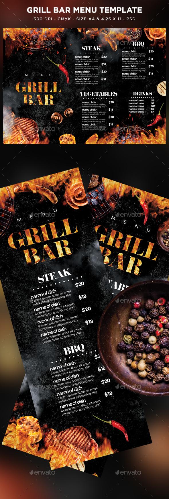 Grill Bar Menu - Food Menus Print Templates