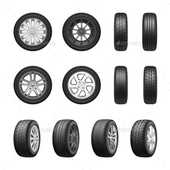 Tires Wheels Realistic Set - Miscellaneous Vectors