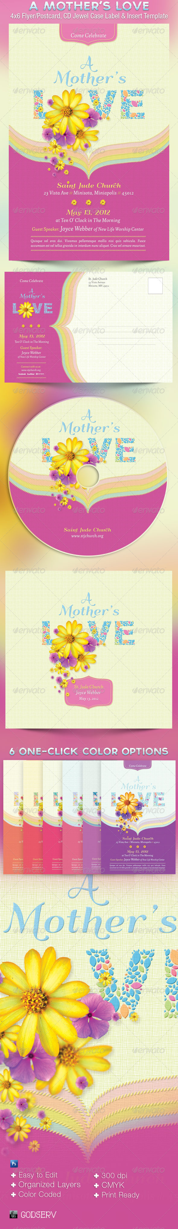 Mothers Love Flyer Postcard CD Template - Church Flyers