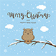 Owl on Winter Background with Lettering Merry Christmas - GraphicRiver Item for Sale