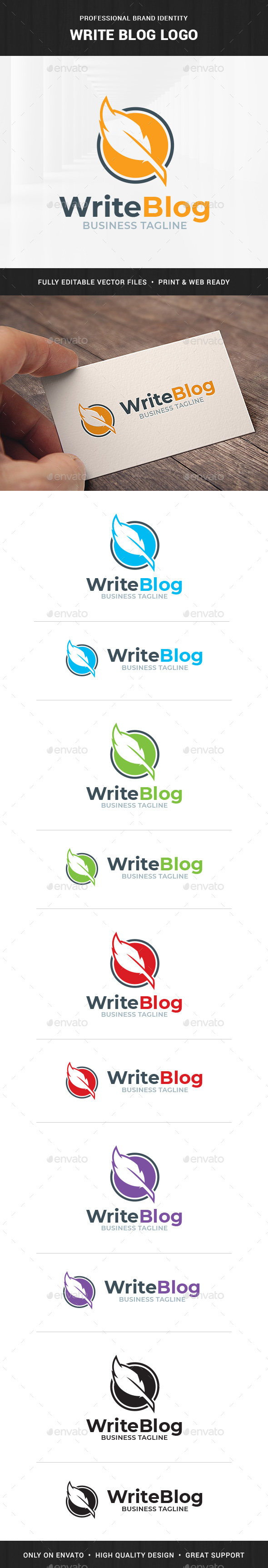 Write Blog - Feather Pen Logo - Objects Logo Templates
