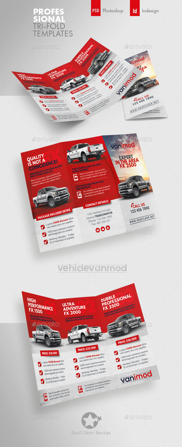 Commercial Vehicle Tri-Fold Templates - Brochures Print Templates