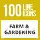 100 Farm & Gardening Line Inverted Icons - GraphicRiver Item for Sale