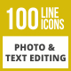 100 Photo & Text Editing Line Inverted Icons - GraphicRiver Item for Sale