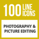 100 Photography & Picture Line Inverted Icons - GraphicRiver Item for Sale
