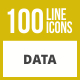 100 Data Line Inverted Icons - GraphicRiver Item for Sale