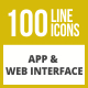 100 App & Web Interface Line Inverted Icons - GraphicRiver Item for Sale