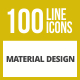 100 Material Design Line Inverted Icons - GraphicRiver Item for Sale