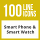 100 Smartphone & Smartwatch Line Inverted Icons - GraphicRiver Item for Sale