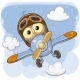 Cute Owl Is Flying on a Plane - GraphicRiver Item for Sale