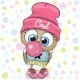 Cute Cartoon Owl with Bubble Gum - GraphicRiver Item for Sale