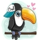 Cartoon Toucan Is Sitting on a Branch - GraphicRiver Item for Sale