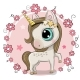 Cartoon Unicorn on a Flowers Background - GraphicRiver Item for Sale