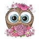 Cartoon Owl with Flowerson a White Background - GraphicRiver Item for Sale