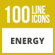 100 Energy Line Inverted Icons - GraphicRiver Item for Sale