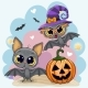 Greeting Halloween Card with Two Bats - GraphicRiver Item for Sale