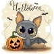 Cute Cartoon Bat with Pumpkin - GraphicRiver Item for Sale