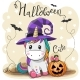Cute Cartoon Unicorn with Pumpkin - GraphicRiver Item for Sale