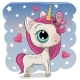 Cute Unicorn with Butterfly on a Stars Background - GraphicRiver Item for Sale