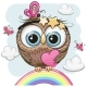 Cute Owl with Heart Is Sitting on a Rainbow - GraphicRiver Item for Sale