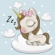 Cute Unicorn a on the Cloud - GraphicRiver Item for Sale