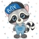Cute Cartoon Raccoon in Cap on a White Background - GraphicRiver Item for Sale