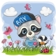 Cute Cartoon Raccoon on a Meadow - GraphicRiver Item for Sale