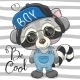 Cool Cartoon Cute Raccoon with Sun Glasses - GraphicRiver Item for Sale
