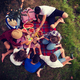 Free Download top view of group friends enjoying picnic time Nulled