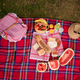 Free Download top view of picnic blanket setting on the grass Nulled