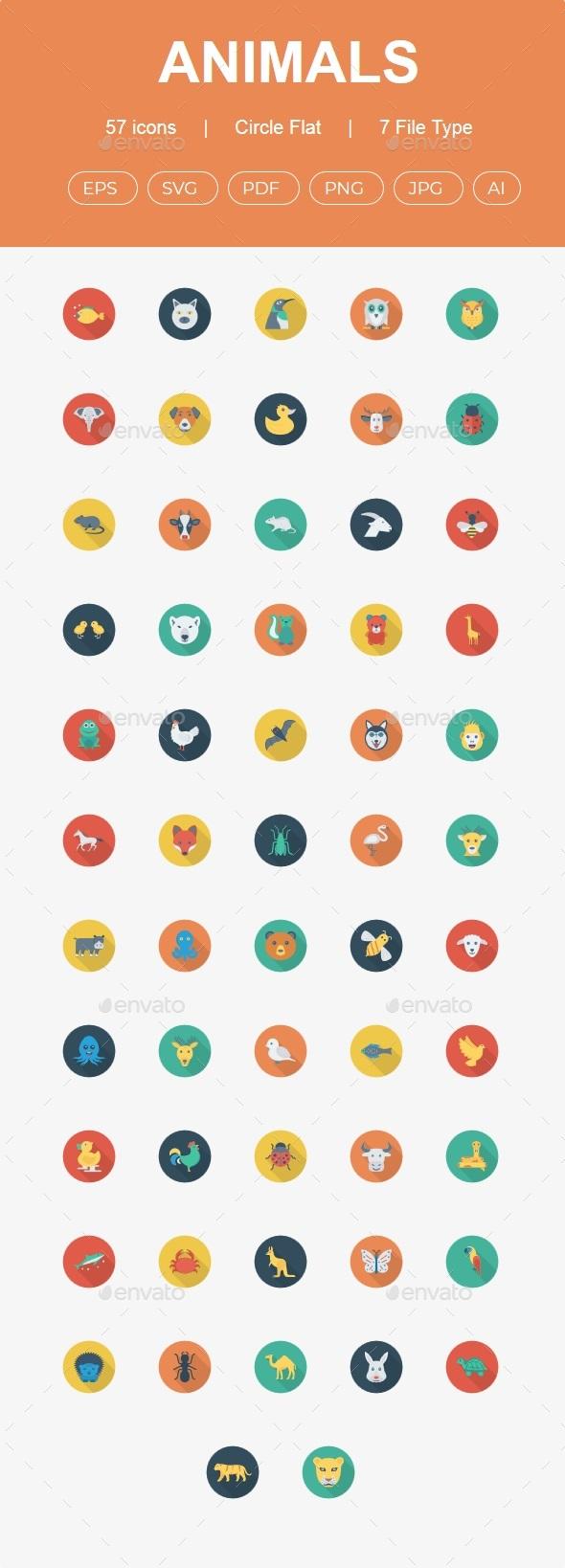 50+ Animals Flat Circle Shadow Icons - Animals Characters
