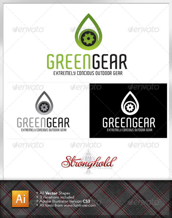 Green Gear Logo Template - Nature Logo Templates