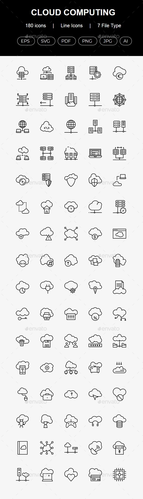 180 Cloud Computing Line Icons - Business Icons