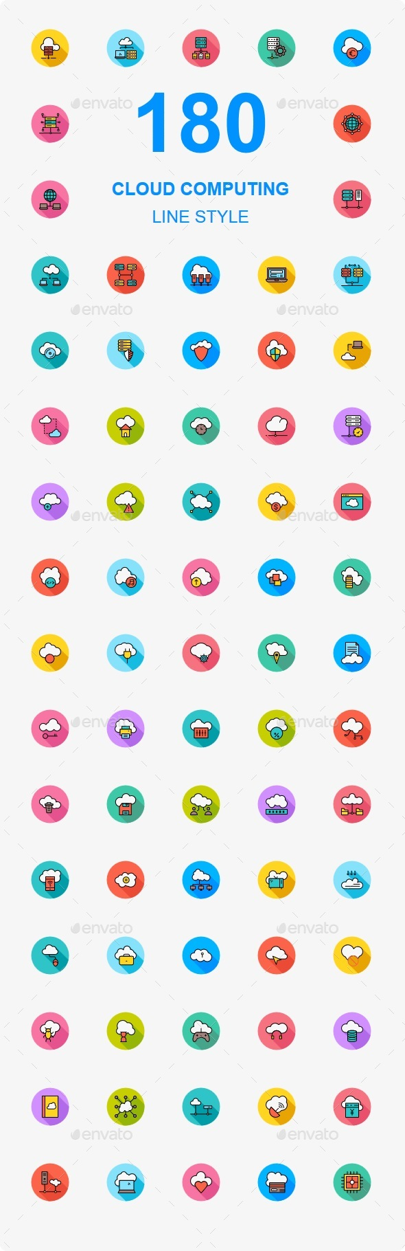 180 Cloud Computing Flat Line Icons - Business Icons
