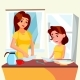 Little Girl Helping Mother Wash Dishes In Kitchen - GraphicRiver Item for Sale