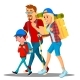 Family Goes Camping With Backpacks - GraphicRiver Item for Sale