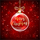 Transparent Ball on Red Background with Lettering Merry Christmas - GraphicRiver Item for Sale