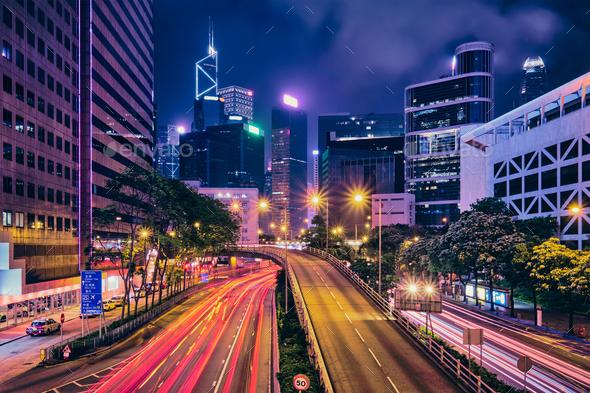 Street traffic in Hong Kong at night - Stock Photo - Images