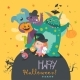 Girl with Monsters Halloween Party - GraphicRiver Item for Sale