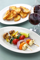 grilled halloumi cheese vegetables skewers kebab, healthy vegetarian dish - PhotoDune Item for Sale