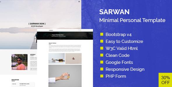 SARWAN - Minimal and Personal HTML Template by Themesfolio