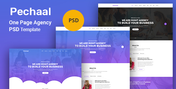 Pechaal - One Page Agency PSD Template - Corporate PSD Templates