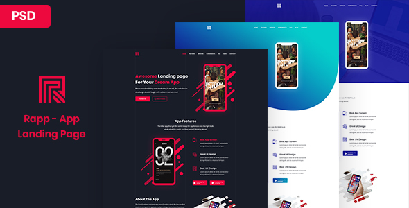Rapp - App Landing page - Creative PSD Templates