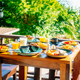 Healthy breakfast set with egg bacon pancakes orange juice milk - PhotoDune Item for Sale