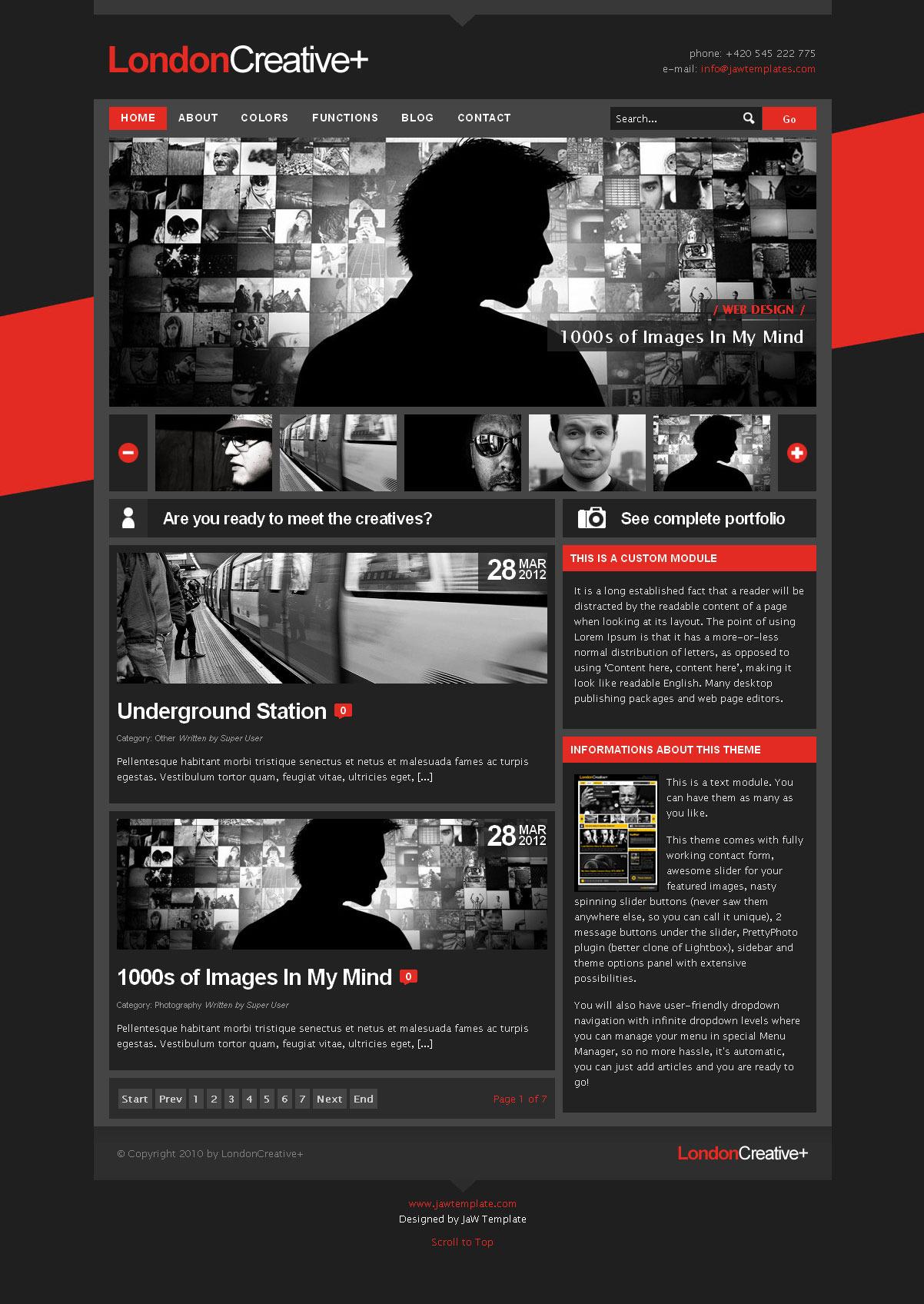 london creative portfolio blog joomla theme by jawtemplates